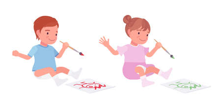 Toddler child, little boy and girl drawing a picture with paints. Cute sweet happy healthy baby, children aged 12 to 36 months wearing diaper, dress. Vector flat style cartoon illustration Illustration