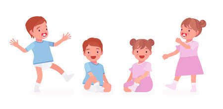 Toddler child, little boy and girl expressing different good emotions. Cute sweet happy healthy baby aged 12 to 36 months wearing blue tee shirt, diaper, dress. Vector flat style cartoon illustration Vettoriali