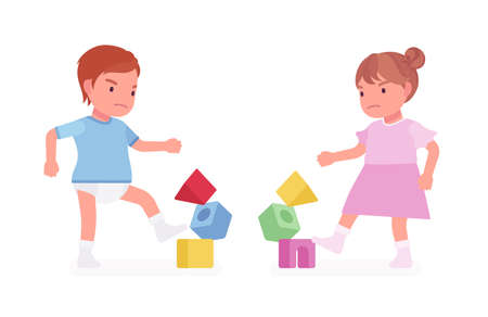 Toddler child, little boy and girl playing with stacking cubes and breaking tower. Cute sweet happy healthy baby aged 12 to 36 months wearing tee shirt, dress. Vector flat style cartoon illustration