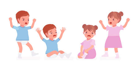 Toddler child, little boy, girl expressing bad emotions, crying in tears. Cute sweet sad healthy baby aged 12 to 36 months wearing blue tee shirt, dress, diaper. Vector flat style cartoon illustration Illustration