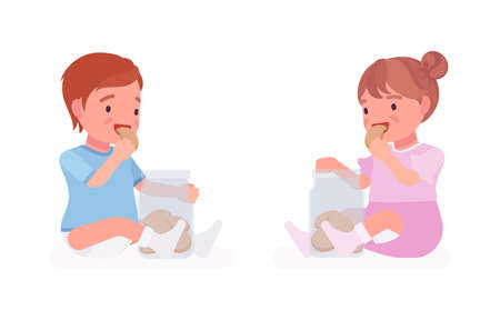 Toddler child, little boy and girl eating cookies from jar. Cute sweet happy healthy baby, children aged 12 to 36 months, wearing blue tee shirt, diaper, dress. Vector flat style cartoon illustration