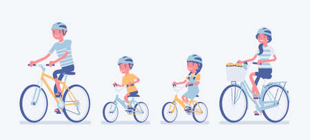 Happy family enjoying bike ride. Father, mother, son and daughter together in a sport activity riding bicycles. Positive friendly outdoor recreation or fun. Vector flat style cartoon illustration