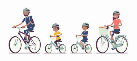 Happy black family enjoying bike ride. Father, mother, son and daughter together in sport activity riding bicycles. Positive friendly outdoor recreation or fun. Vector flat style cartoon illustration Vettoriali