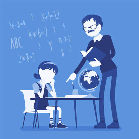 Male teacher and girl student. Unhappy child studying under strict control, bored single pupil doing homework with tutor, school practicing learning at home. Vector creative stylized illustration