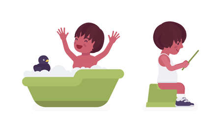 Toddler child, black little boy enjoying bath time, on a potty sitting with tablet device. Cute sweet happy healthy baby aged 12 to 36 months. Vector flat style cartoon illustration