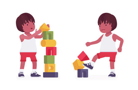Toddler child, black little boy enjoying playing with stacking cubes, make tower and break. Cute sweet happy healthy baby aged 12 to 36 months in kid clothes. Vector flat style cartoon illustration