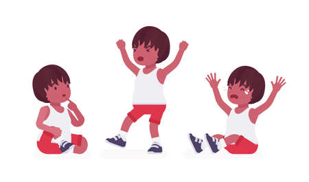 Toddler child, black little boy expressing different emotions. Cute sweet healthy baby aged 12 to 36 months, wearing comfortable summer outfits, kid clothes. Vector flat style cartoon illustration