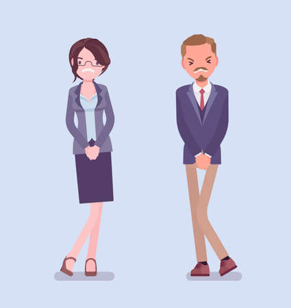 Man, woman wanting to pee, feeling discomfort. People suffering with constant urge, urinary tract infection, overactive bladder, health disorder, needing a wc. Vector flat style cartoon illustration
