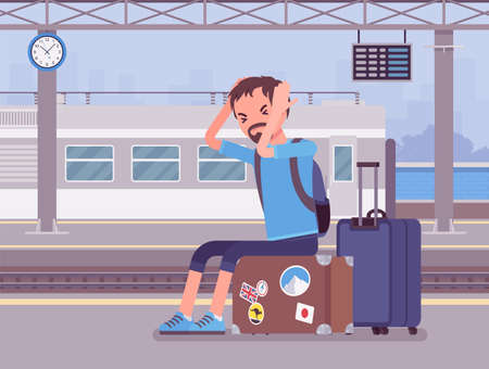 Boy missing the train journey, left in despair at trainstation. Angry sad man sitting at the luggage, railways passenger late for scheduled departure boarding. Vector flat style cartoon illustration Vektoros illusztráció