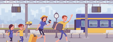 Family missing train, hurrying at trainstation. Family tourists, unfortunate passengers running in railway platform to catch leaving wagon, late for departure. Vector flat style cartoon illustration 일러스트