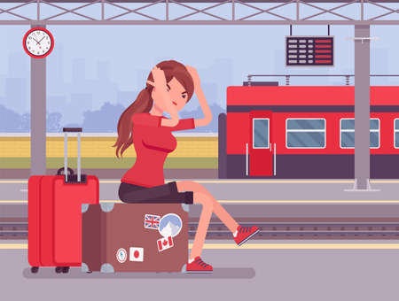 Girl missing the train journey, left in despair at trainstation. Angry sad woman sitting at luggage, railways passenger late for scheduled departure boarding. Vector flat style cartoon illustration