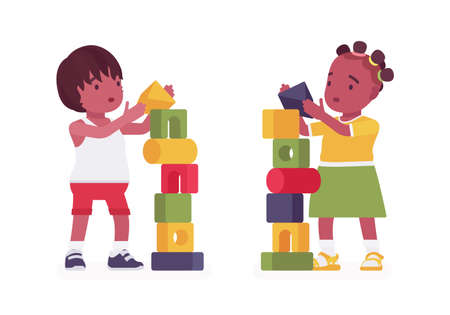 Toddler children, black little boy and girl enjoying playing with stacking cubes, make tower. Cute sweet happy healthy baby aged 12 to 36 months in kid clothes. Vector flat style cartoon illustration Ilustrace
