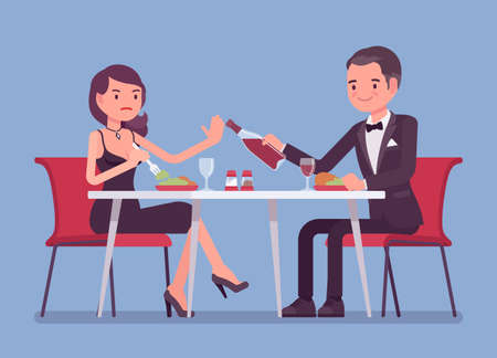Alcohol refusal in pressure to drink. Man and woman enjoy date in restaurant, cafe dinner, offer and no thanks, enough reply, person choosing healthy lifestyle. Vector flat style cartoon illustration
