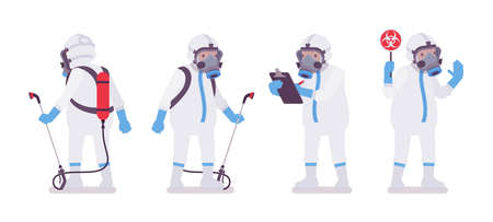 Man wearing disposable coverall with sprayer backpack, radiation sign. Worker in a white personal protective hooded apparel with respirator mask, suit Level C. Vector flat style cartoon illustration