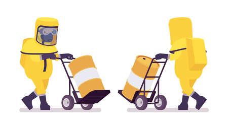 Man, hazmat protective clothing pushing hand truck with radioactive barrel. Worker in level A suit, coverall, chemical resistant gloves, breathing apparatus. Vector flat style cartoon illustration 일러스트