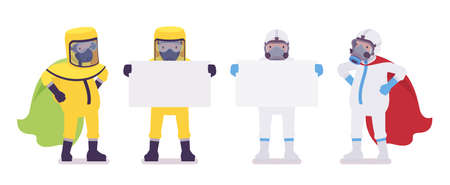 Man in hazmat clothing, disposable coverall with copy space banner. Workers in level A, C suit, chemical resistant gloves, hooded apparel, breathing apparatus. Vector flat style cartoon illustration 일러스트