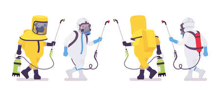Man in hazmat clothing and disposable coverall walking with sprayer. Workers in level A, C suit, chemical resistant gloves, hooded apparel, breathing apparatus. Vector flat style cartoon illustration