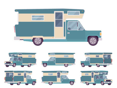 RV camper turquoise van car, recreational vehicle. Motorhome trailer, living accommodations, holiday journey caravan, convenient home on wheels. Vector flat style cartoon illustration, different views