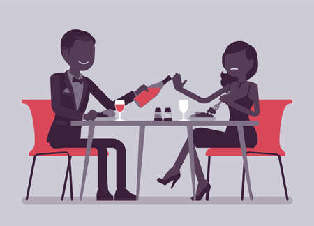 Alcohol refusal in pressure to drink. Man and woman enjoy date in restaurant, cafe dinner, offer and no thanks, enough reply, person choosing healthy lifestyle. Vector creative stylized illustration