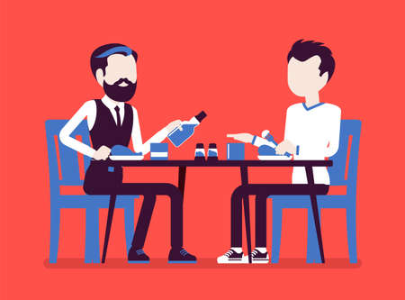 Alcohol refusal in pressure to drink. Male friends enjoy restaurant, cafe dinner, beverage offer and no thanks, enough reply, person choosing healthy lifestyle. Vector creative stylized illustration