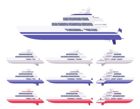 Yacht set, blue, white, red luxury boat for sea cruising, ocean racing adventure. Engine marine vessel to enjoy romantic sailing or travelling. Vector flat style cartoon illustration, different views