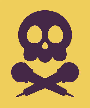 Music piracy icon, skull and microphone cross. Recordings and content illegal download, concert singing, copying or distributing, copyright infringement crime. Vector flat style cartoon illustration Vectores