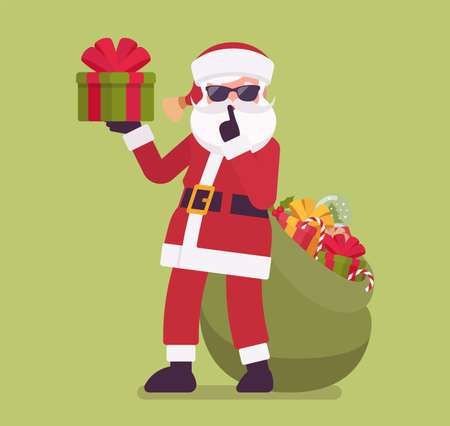 Secret Santa Claus with present box making hush, shh gesture. Anonymous Father Christmas bringing, sharing traditional new year gifts, unknown volunteer giver. Vector flat style cartoon illustration 向量圖像