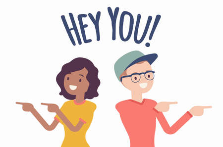 Hey you young people finger pointing to call, attract attention. Man, woman expressing interest, addressing in informal greeting to offer, provide information. Vector creative stylized illustration