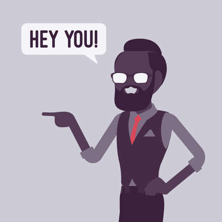 Hey you businessman finger pointing to call, attract attention. Man expressing interest, addressing in informal greeting to speak, offer, provide information. Vector creative stylized illustration Ilustração