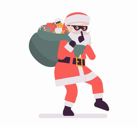 Secret Santa Claus making hush gesture, moving slowly with sack. Anonymous Father Christmas bringing, sharing traditional new year gift, unknown volunteer giver. Vector flat style cartoon illustration