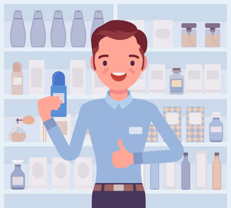 Perfume, cologne shop male employee, sales assistant. Smiling guy happy to help choosing, finding fragrance in a store. Vector flat style cartoon illustration, beauty product shelf display background 向量圖像