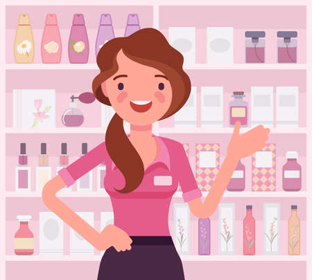Perfume shop female attractive employee, assistant. Smiling girl happy to help choosing, finding fragrance in a store. Vector flat style cartoon illustration, beauty product shelf display background