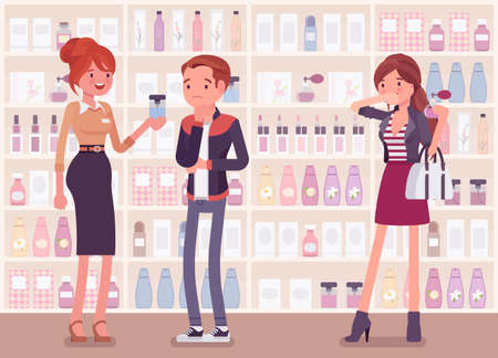 Choosing perfume, finding fragrance in a store with female sales assistant. Man puzzled with sample scents. Vector full length flat style cartoon illustration, beauty product shelf display background 向量圖像