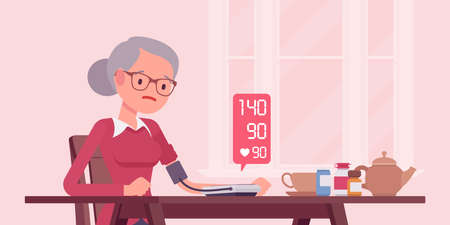 Blood pressure measurement self monitoring by electronic sphygmomanometer. Senior woman doing measuring, controlling health at home, digital meter numbers. Vector flat style cartoon illustration Vector Illustration