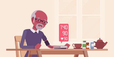 Blood pressure measurement self monitoring by electronic sphygmomanometer. Black senior man doing measuring, controlling health at home, digital meter numbers. Vector flat style cartoon illustration