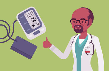 Wrist blood pressure monitor tonometer with normal measurement result. Digital display showing good meter test, black doctor happy with healthy picture. Vector flat style cartoon illustration Vector Illustration