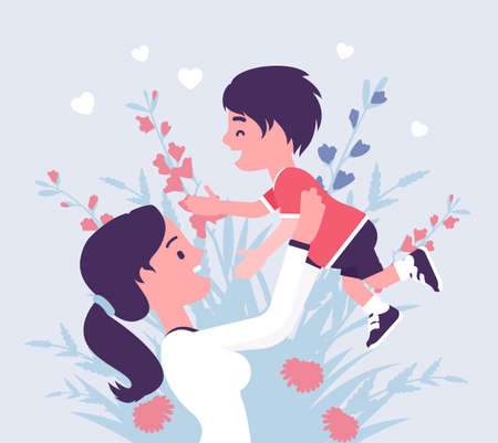 Mom and baby son, female health in happy family. Mother tossing child, emotional bonds, love, motherhood beauty in good relationships. Vector creative stylized illustration, floral spring design