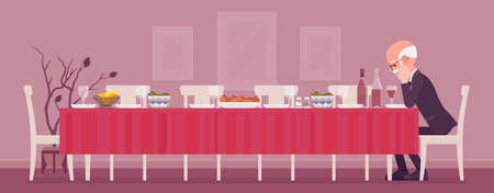 Lonely old man sitting at table served for festive dinner. Senior person alone with empty chairs, missing gone family members, friends, thinking of past events. Vector flat style cartoon illustration Ilustrace