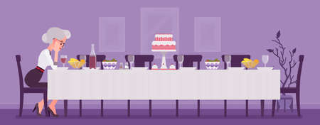 Lonely old woman sitting at table served for festive dinner. Senior person alone with empty chairs missing gone family members, friends, thinking of past events. Vector flat style cartoon illustration