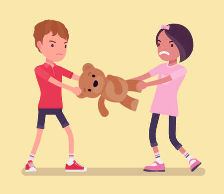 Conflict of interest, little boy and girl sharing toy bear. Brother and sister jealousy childhood problem, sibling rivalry, family feelings and aggression. Vector flat style cartoon illustration