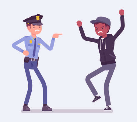 Conflict of interest for policeman and criminal. Police abuse, excessive use of force dealing with young suspect and civilian, treat with cruel words, violence. Vector flat style cartoon illustration