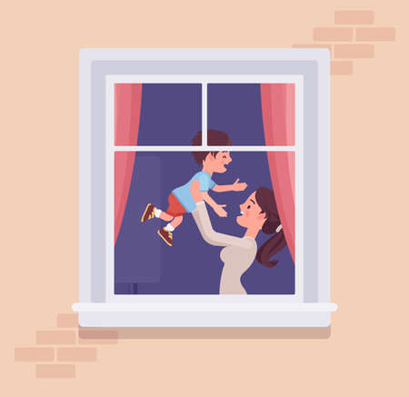 Window with a happy mother and little kid behind. Homebody family spending time staying home to enjoy safe comfortable private and personal life indoors. Vector flat style cartoon illustration Illusztráció