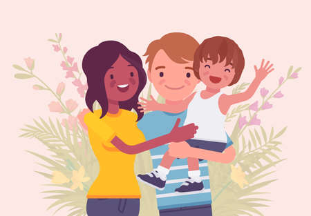 Multicultural happy family, parents and kid of different race, culture. Father, mother and son portrait, three members posing together, smiling in love and care. Vector flat style cartoon illustration