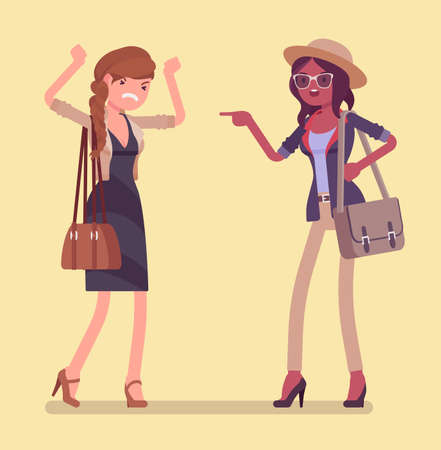 Conflict of interest for girlfriends, professional, difference of opinions. Emotional friends communicating badly, stress relief difficulty, girls get jealous. Vector flat style cartoon illustration 矢量图像