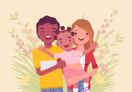Multicultural happy family, parents and kid of different race, culture. Father, mother and daughter portrait, three members posing together, smiling in love. Vector flat style cartoon illustration Illustration