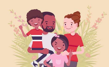Multicultural happy family, parents and kids of different race, culture. Father, mother, son, daughter portrait, four members posing together, smiling in love. Vector flat style cartoon illustration