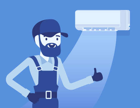 Air Conditioner unit proper work, use, regular maintenance. Professional repair technician done his expert assistance, happy with good ac, working split system. Vector creative stylized illustration Ilustracja