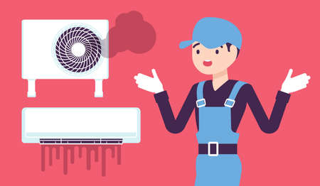 Air Conditioner unit system breakdown, damage after neglecting a regular maintenance. Repair technician in trouble, puzzled with broken ac, split system problem. Vector creative stylized illustration Ilustracja