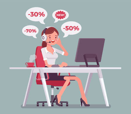Salesperson cold calling by telephone to potential customer. Attractive female operator, telemarketing assistant advertising, selling spam product, service. Vector flat style cartoon illustration