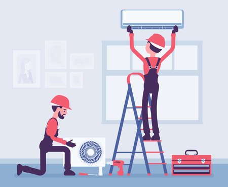 Air Conditioner installation by service technicians at home. Professional crew working in a room to handle new split system outdoor unit and indoor cabinet. Vector creative stylized illustration Ilustracja